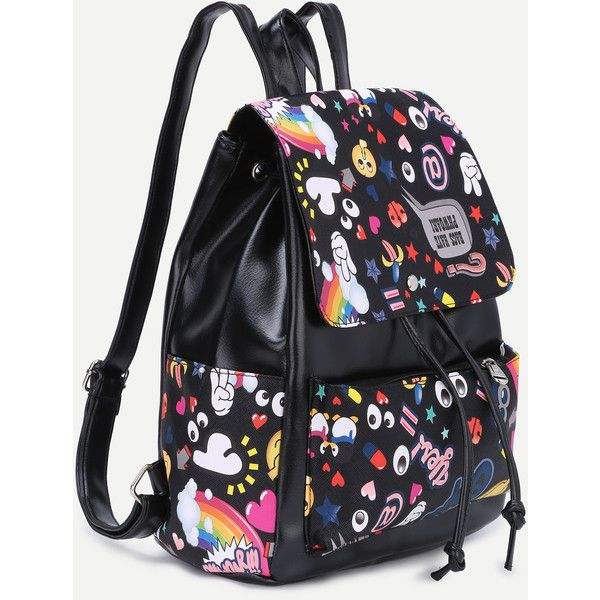 SheIn(sheinside) Faux Leather Cartoon Print Drawstring Flap Backpack (45 BRL) ❤ liked on Polyvore featuring bags, backpacks, comic backpack, faux leather backpack, drawstring backpack, print backpacks and patterned backpacks