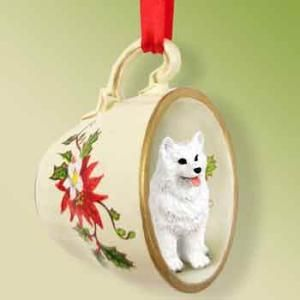 American Eskimo Christmas Ornament Cup Of Tea