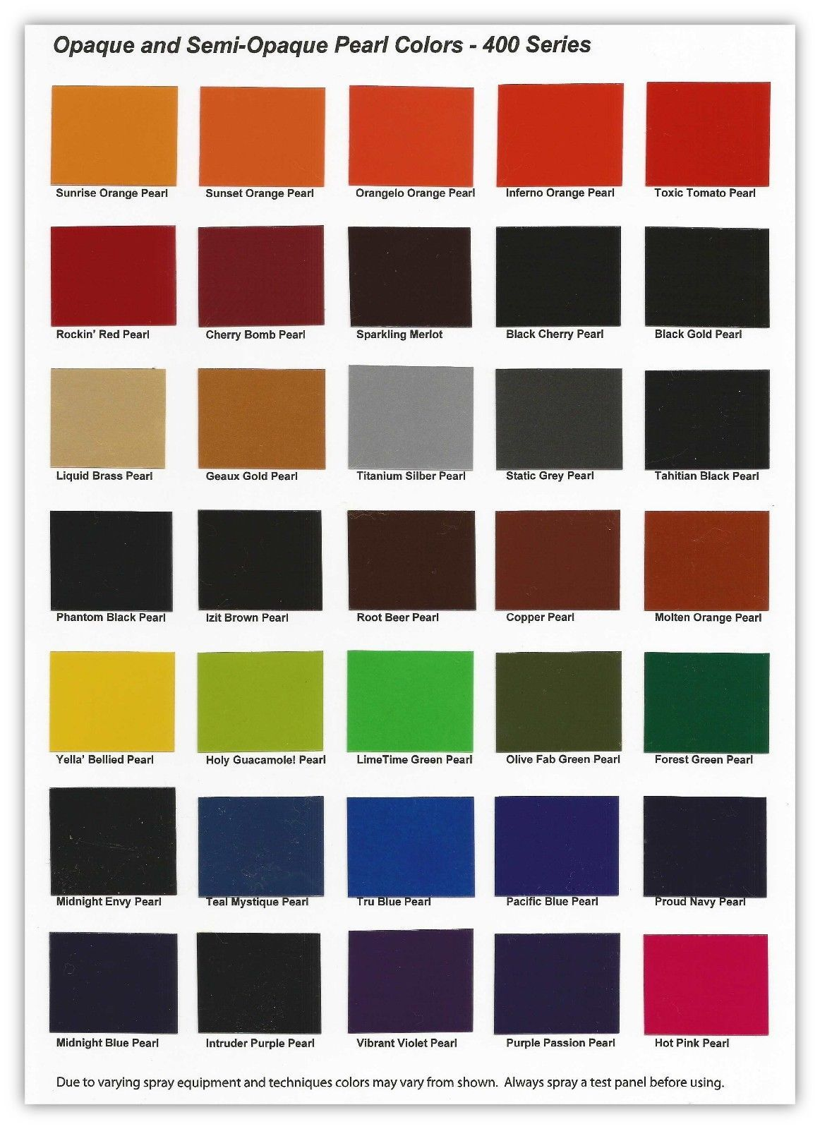 Colour car metallic - Urekem 400 Series Color Chart Color Card Of Opaque And Semi Opaque Pearls