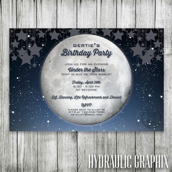 starry night birthday invitation galaxy invite under the stars