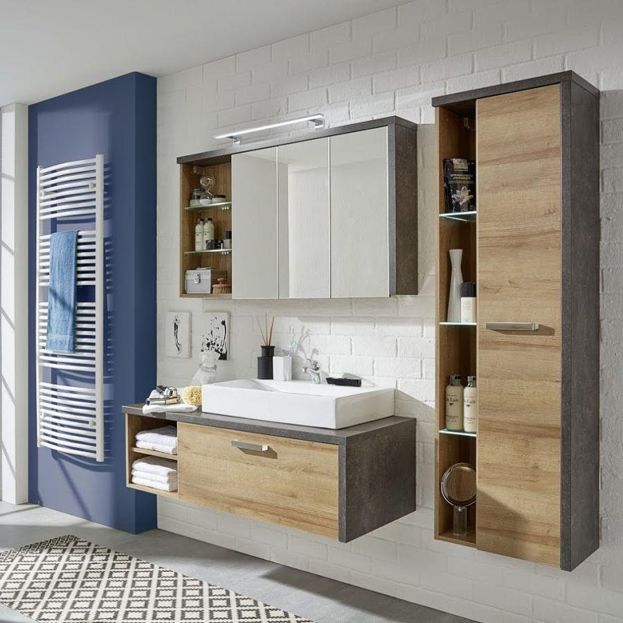 Waschtischunterschrank Bay Eiche Riviera Honig Dekor Beton Ohne Waschbecken Badezimmer Dekor Badezimmer Badezimmer Set