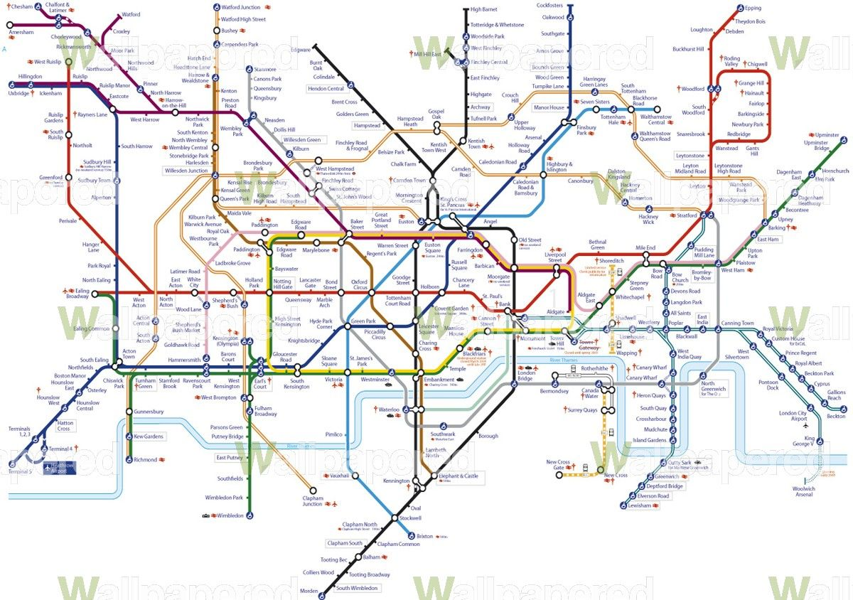 Funny Tube Map Wallpaper Mural Underground Map Wall Mural