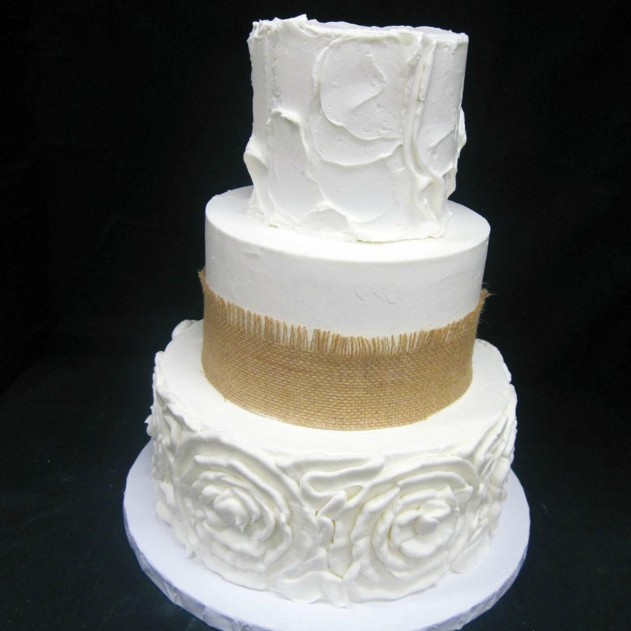 Rose burlap spackle wedding cake from Cake Crumbs Bakery in
