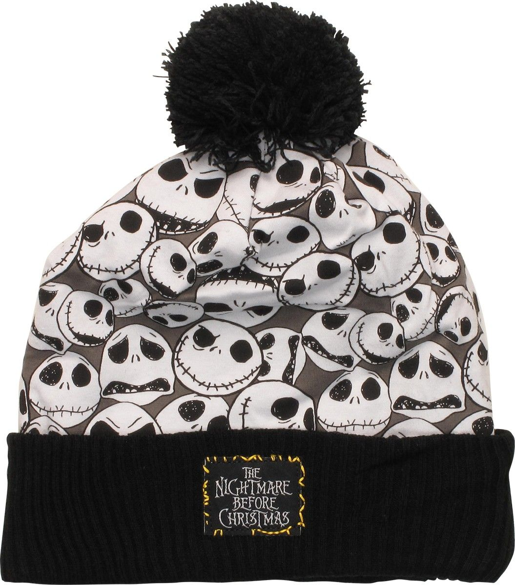 e2482bcc5be Nightmare Before Christmas Jack Collage Cuffed Pom Beanie