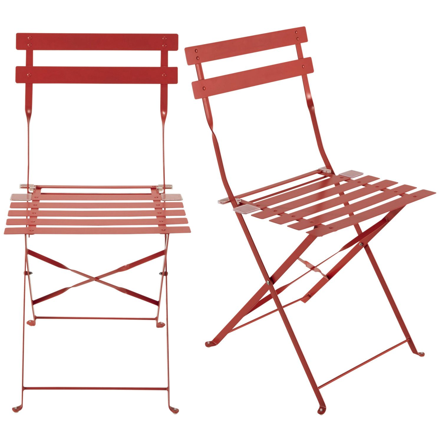 2 Red Metal Folding Outdoor Chairs Folding Garden Chairs Garden Chairs Chair