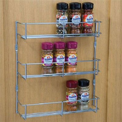 Wall Mount Storage Kitchen Shelf Pantry Holder Door Spice Rack Cabinet  Organizer