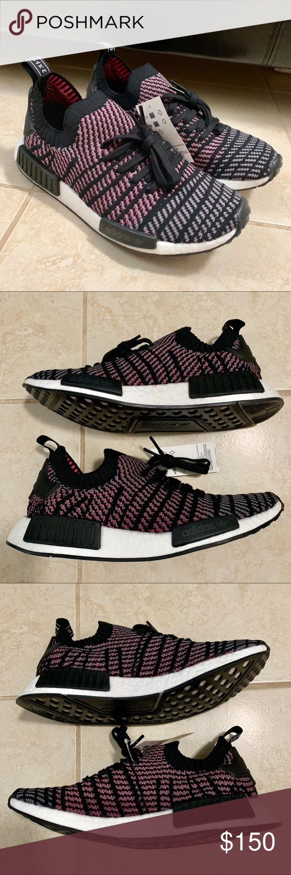 new products ab71b f8149 New Men s Adidas NMD R1 PK STLT US 9.5 Brand new Men s Adidas NMD R1 PK STLT.  Size  US 9.5. Color  Black Grey Solar Pink. Primeknit upper, Boost  technology, ...