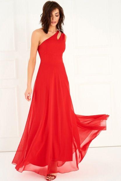 Kirmizi Tek Omuz Elbise The Dress Resmi Elbise Elbiseler