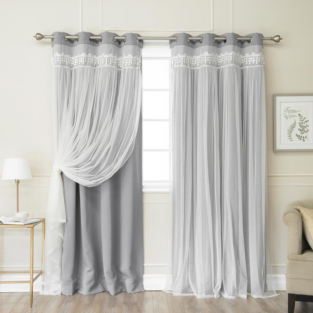 Best Home Fashion Grey 96 In L Elis Lace Overlay Blackout Curtain