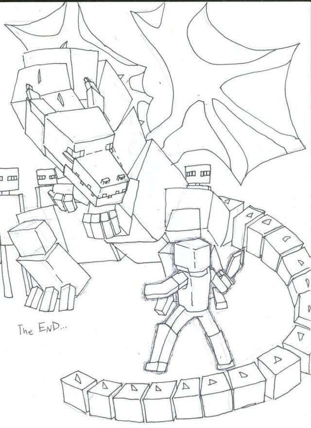 Minecraft Steve Vs Enderdragon Coloring Pages Minecraft