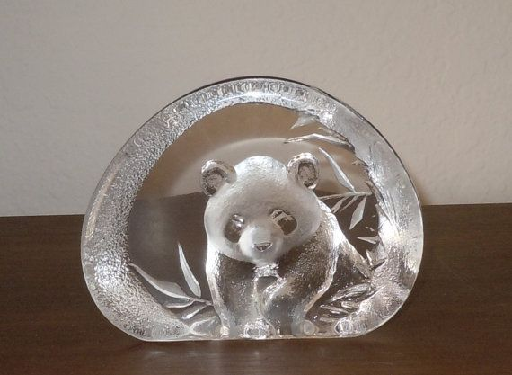 Mats Jonasson Crystal Glass Panda Bear Paper Weight Signed and Numbered  http://www.etsy.com/listing/130975471/mats-jonasson-crystal-glass-panda-bear?ref=market