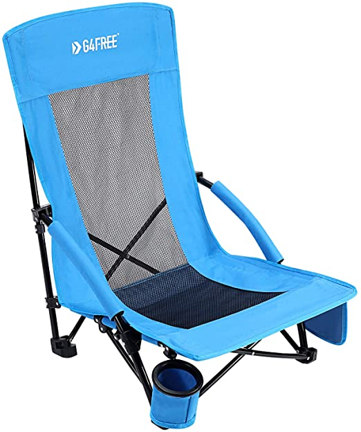 Amazon Com G4free Low Sling Folding Beach Chair Camping Chairs Compact Concert Lumbar Back Support Festival Chair Wit Beach Chairs Camping Chairs Camping Bbq