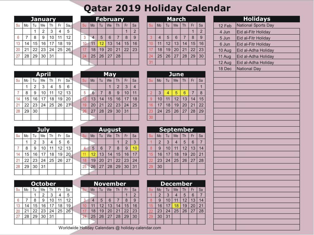 Qatar 2019 2020 Holiday Calendar National Day Calendar