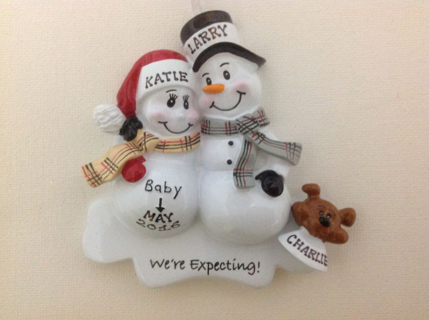 Dad christmas ornament - Personalized Christmas Ornament Pregnant Snowman Couple With Pet Puppy Dog Expecting Parents Mom To Be Dad To Be