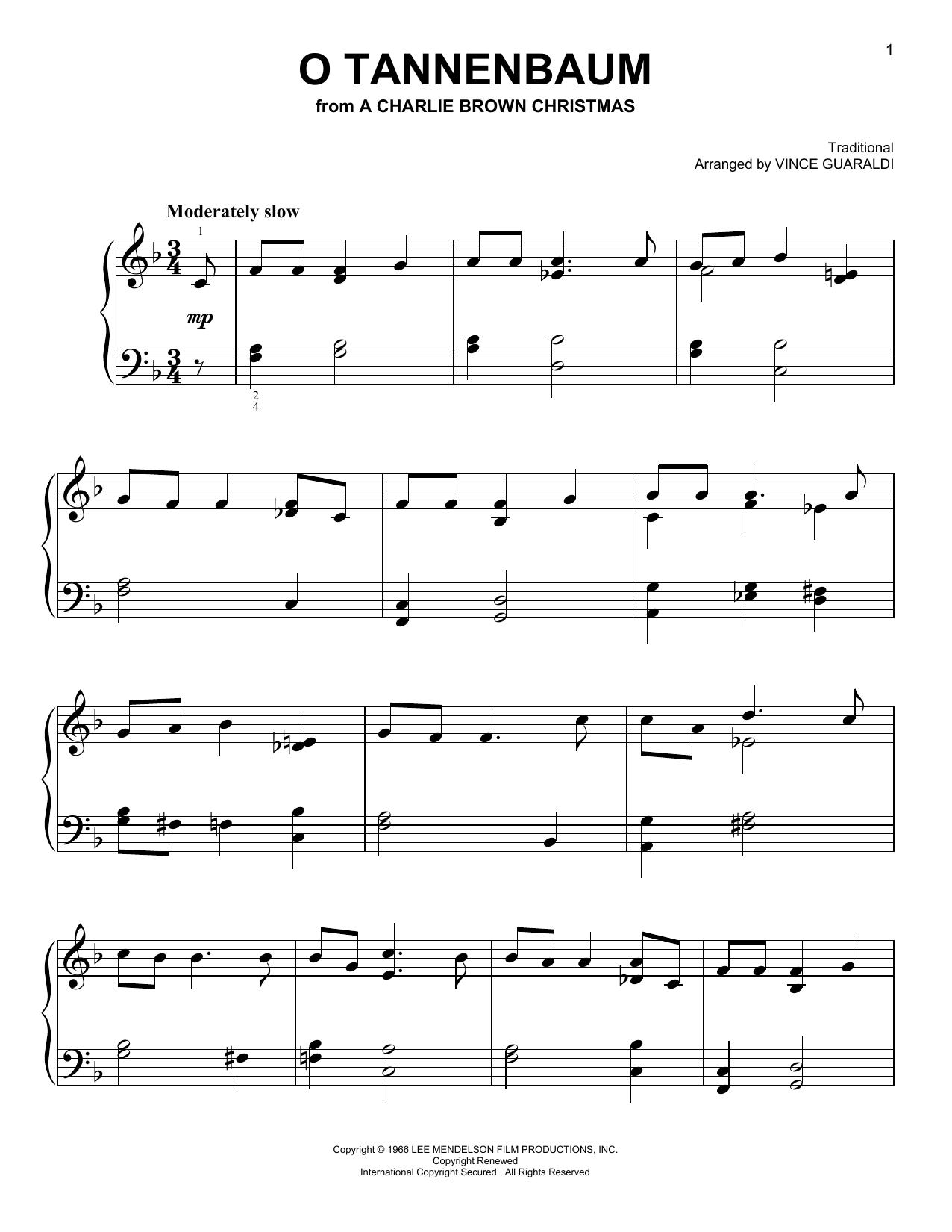 O Tannenbaum - Vince Guaraldi Trio in 2018 | Christmas sheet music ...