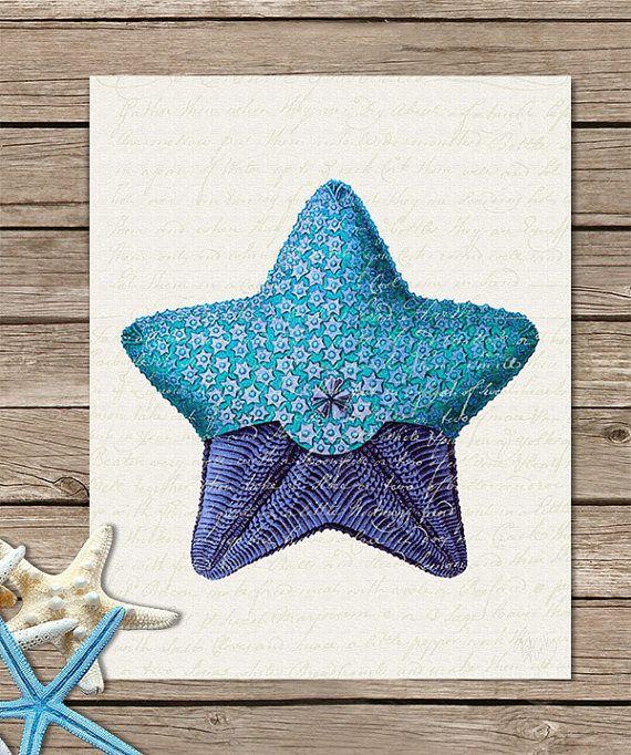 Blue Starfish Shades 1 Art Print Decor Living Room Décor Family Wall
