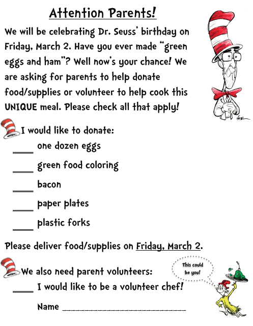 Parent letter home asking for supplies and volunteer chefs to make parent letter home asking for supplies and volunteer chefs to make green eggs and ham on dr seuss birthday httpsdocsgoogleopenid0b spiritdancerdesigns Choice Image