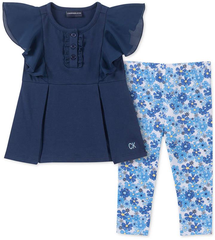 2edfd0692f3d Calvin Klein Baby Girls 2-Pc. Chiffon Tunic   Floral-Print Leggings ...