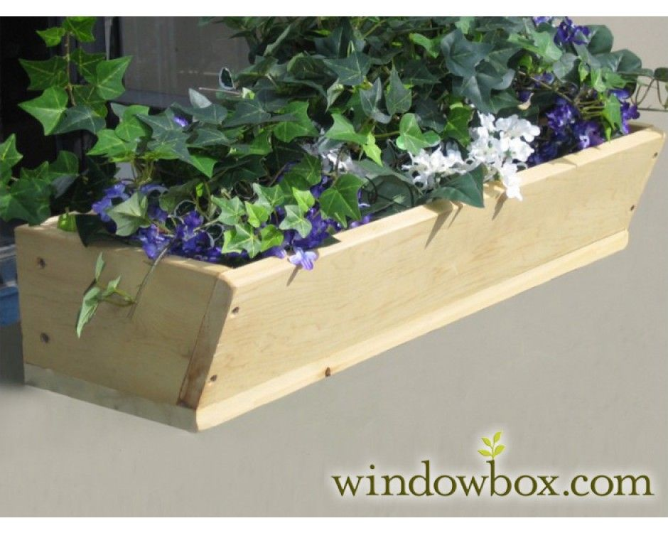 Wooden window planter boxes cedar wood window box for Tapered planter box plans