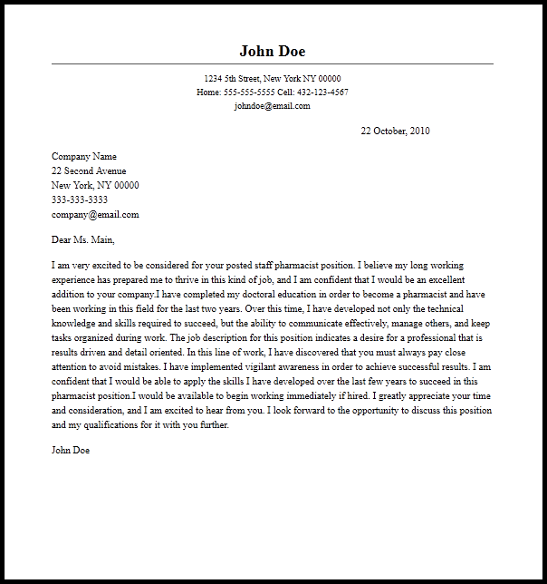 Cover Letter Template Pharmacist | 2-Cover Letter Template | Sample ...