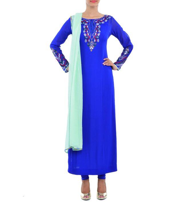 Royal Blue Embroidered Georgette Kurta Set #indianroots #ethnicwear #kurtasets #georgette #embroidered #summerwear