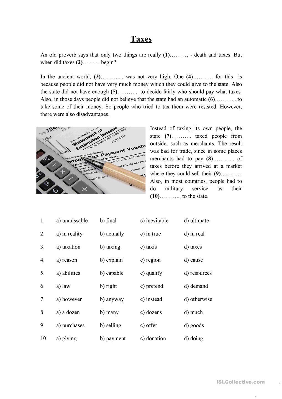 PET (B1) exam Reading Part 5 - Taxes | class ideas+worksheets ...