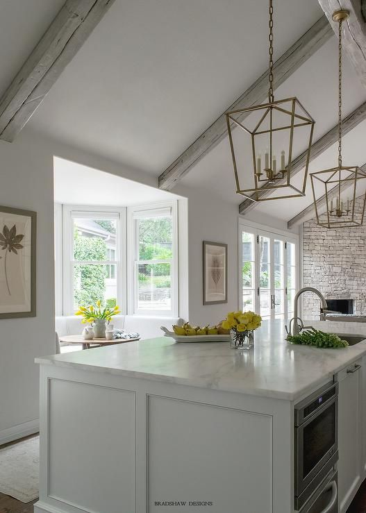 Gray Vaulted Kitchen Ceiling With Gray Wood Beams Transitional Kitchen Vaulted Ceiling Kitchen Kitchen Island Lighting Wood Beams #vaulted #ceiling #wood #beams #living #room
