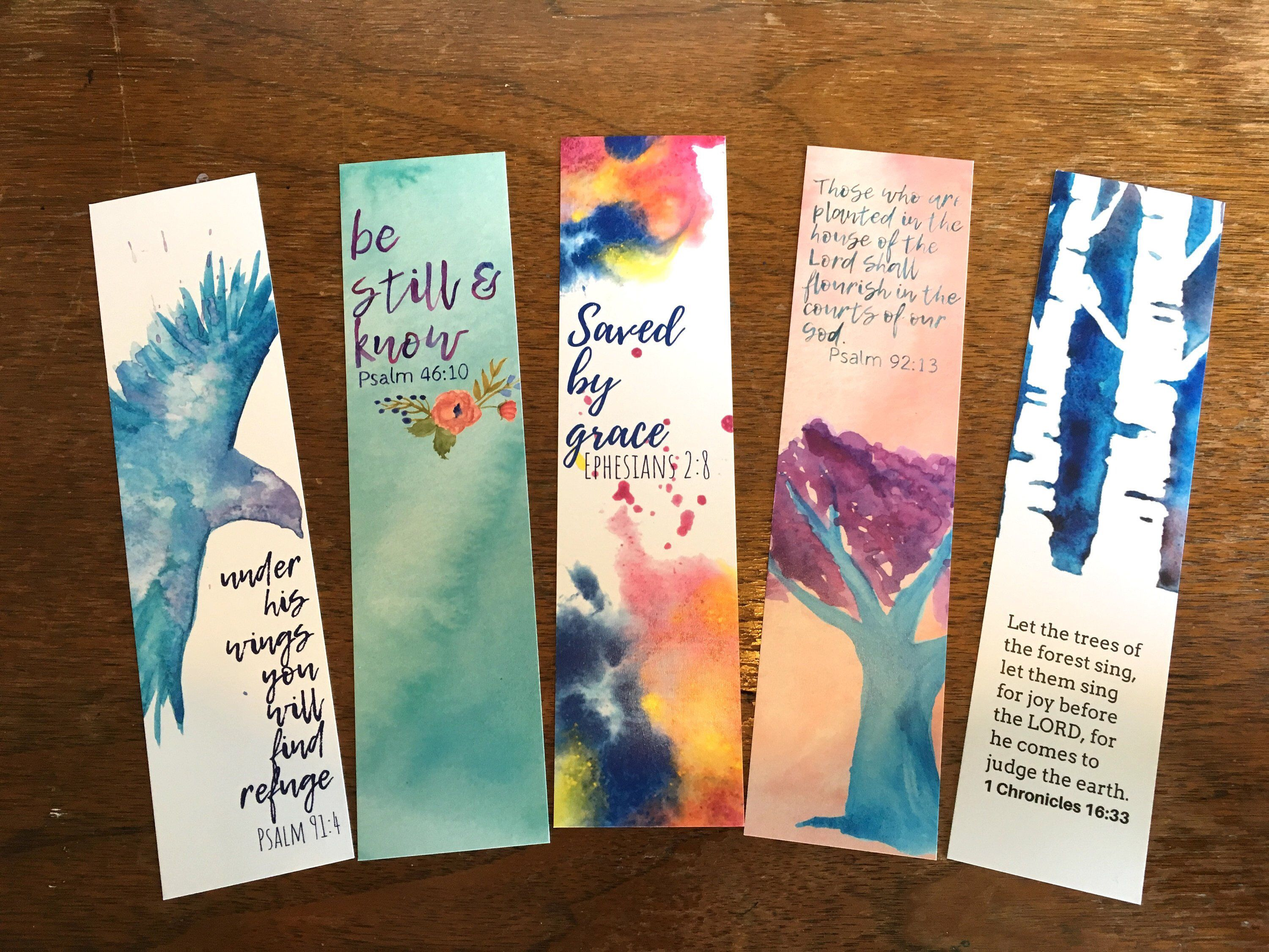 Watercolored Bible Verse Bookmarks Set Of 5 Christian Gift