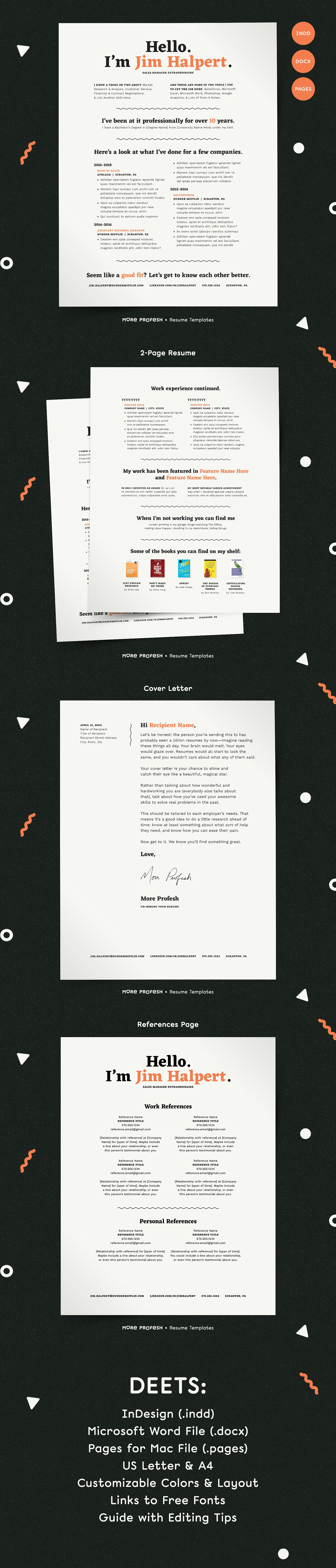 Human-Voiced Resume CV Kit Template INDD | Resume Templates ...
