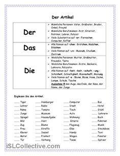 Artikel Arbeitsblatt - Kostenlose DAF Arbeitsbl tter | alemán ...
