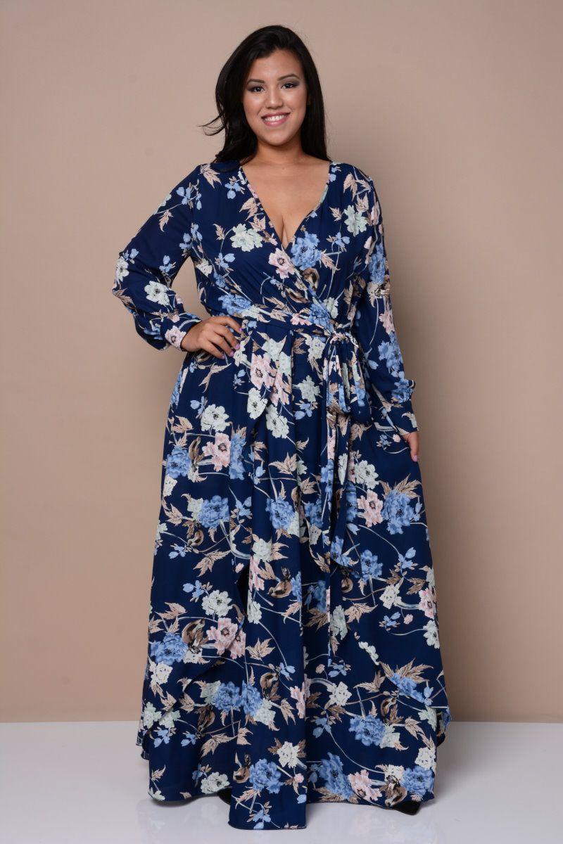 Elegant Surplice Maxi Dress Plus Size Outfits Plus Size