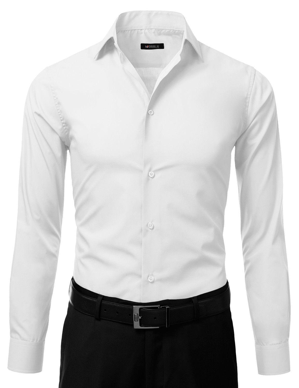 Mens Slim Fit Dress Shirt White Button Down Ellissa Ds3003 Mens White Dress Shirt Mens Shirt Dress Slim Fit Dress Shirts [ 1500 x 1154 Pixel ]