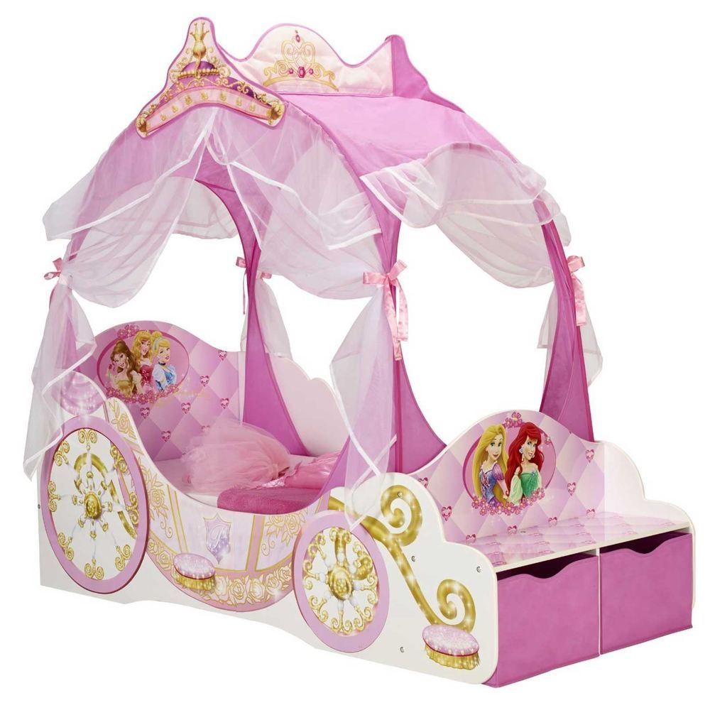 Details About Disney Princess Carriage Toddler Bed With Storage