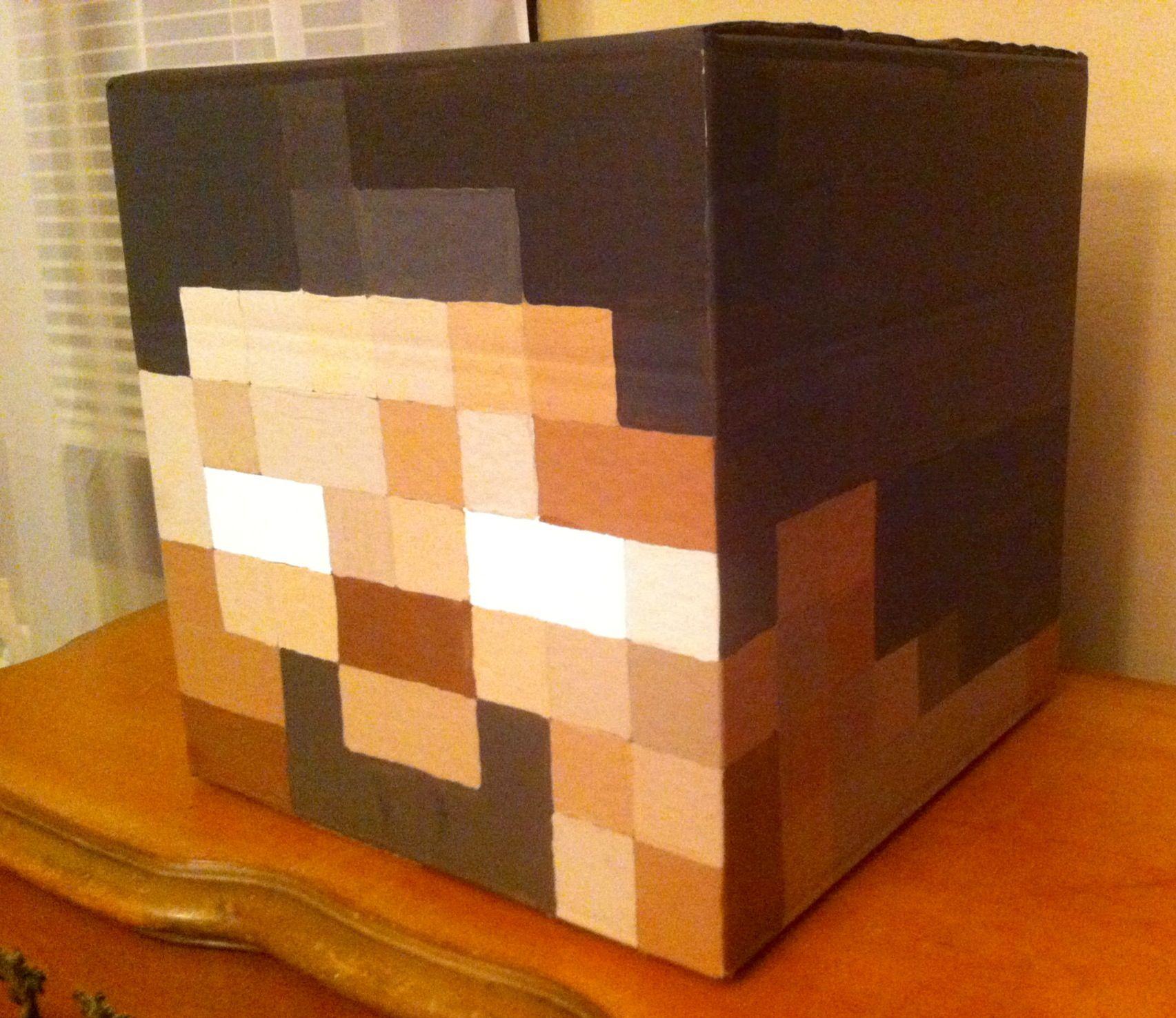 """Herobrine"" head Minecraft costume 12"" square box ..."