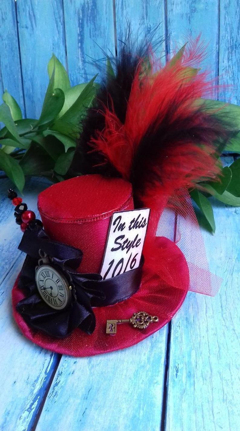 Tea Party Hat Mad Hatter Costume Fascinator Alice in Wonderland Hat Mad Hatter Mini Top Hat Birthday Hat Mad Hatter Fascinator