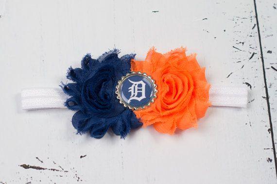 Detroit Tigers MLB inspired Headband-Baseball Fan Accessories-Fall-Shabby Chic Headbands-Newborn-Toddler-Girls-Adults-Team Spirit
