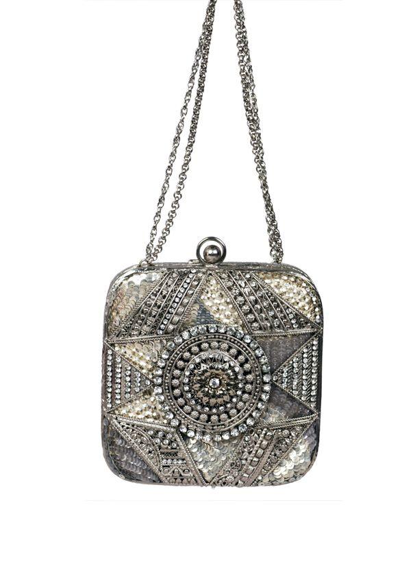 Meera Mahadevia Silver Encrusted Clutch
