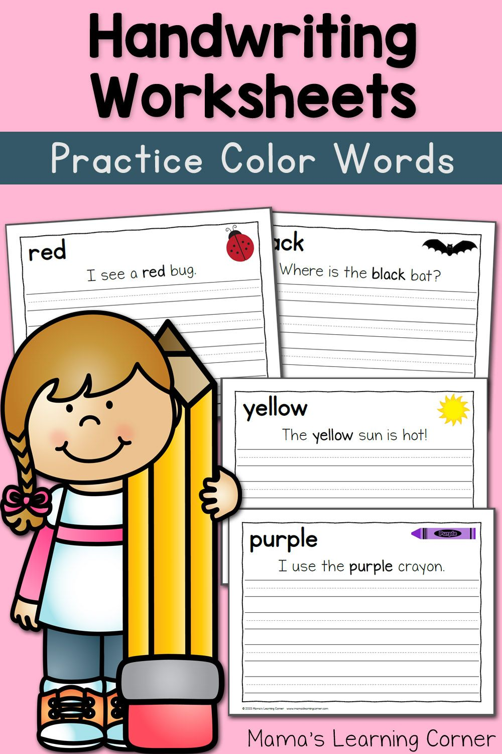 handwriting worksheets for kids: color words! | for the kiddies