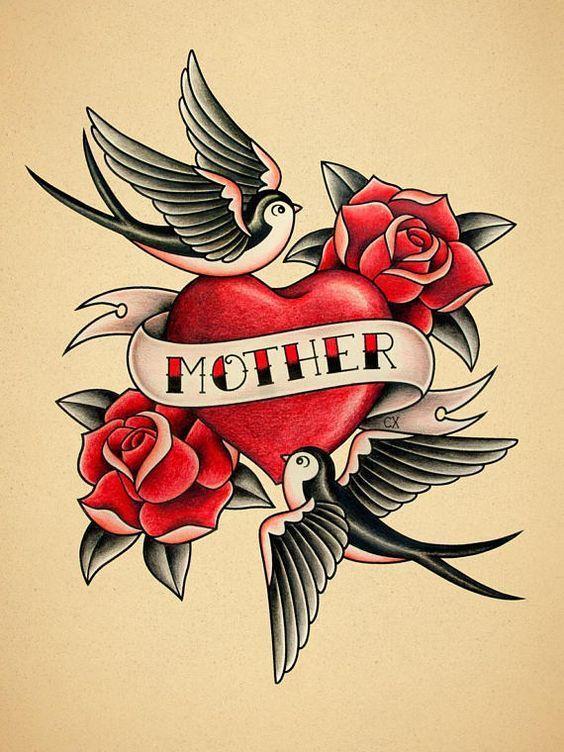 L'amour maternel. Imprimé de tatouage Old School.   – indina