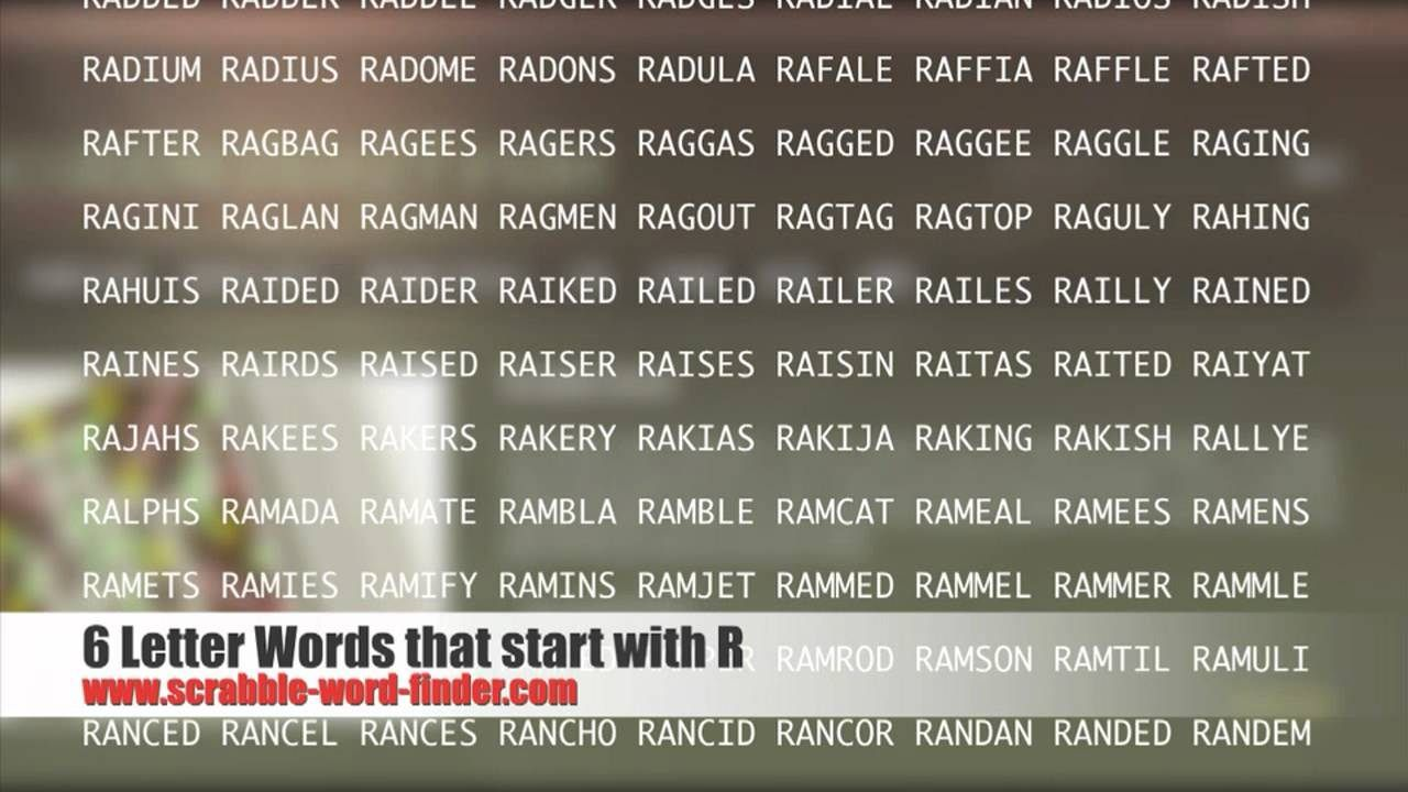 6 Letter Words Starting With R http//www.valery