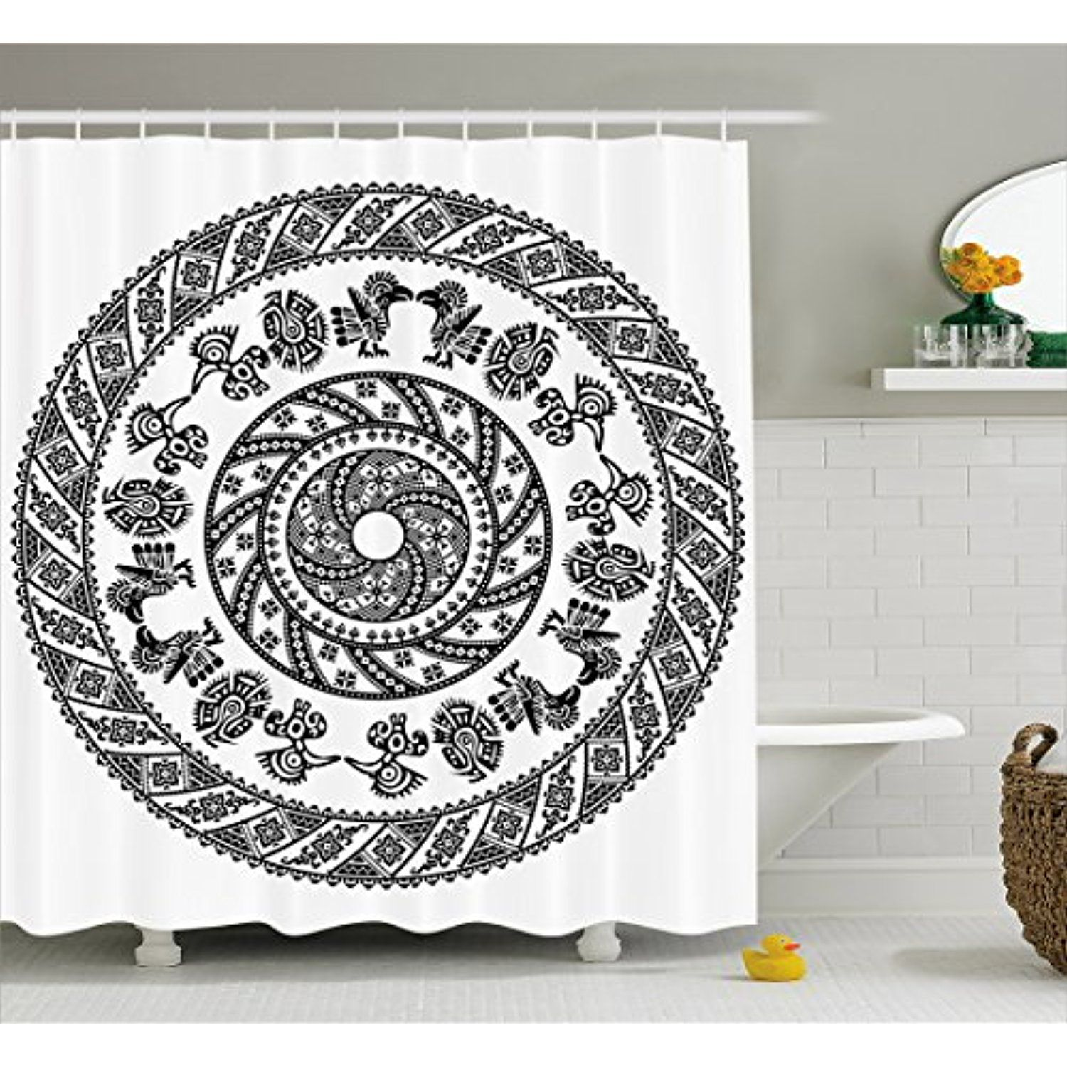 Aztec Shower Curtain By Lunarable Spiral Design With Circles And