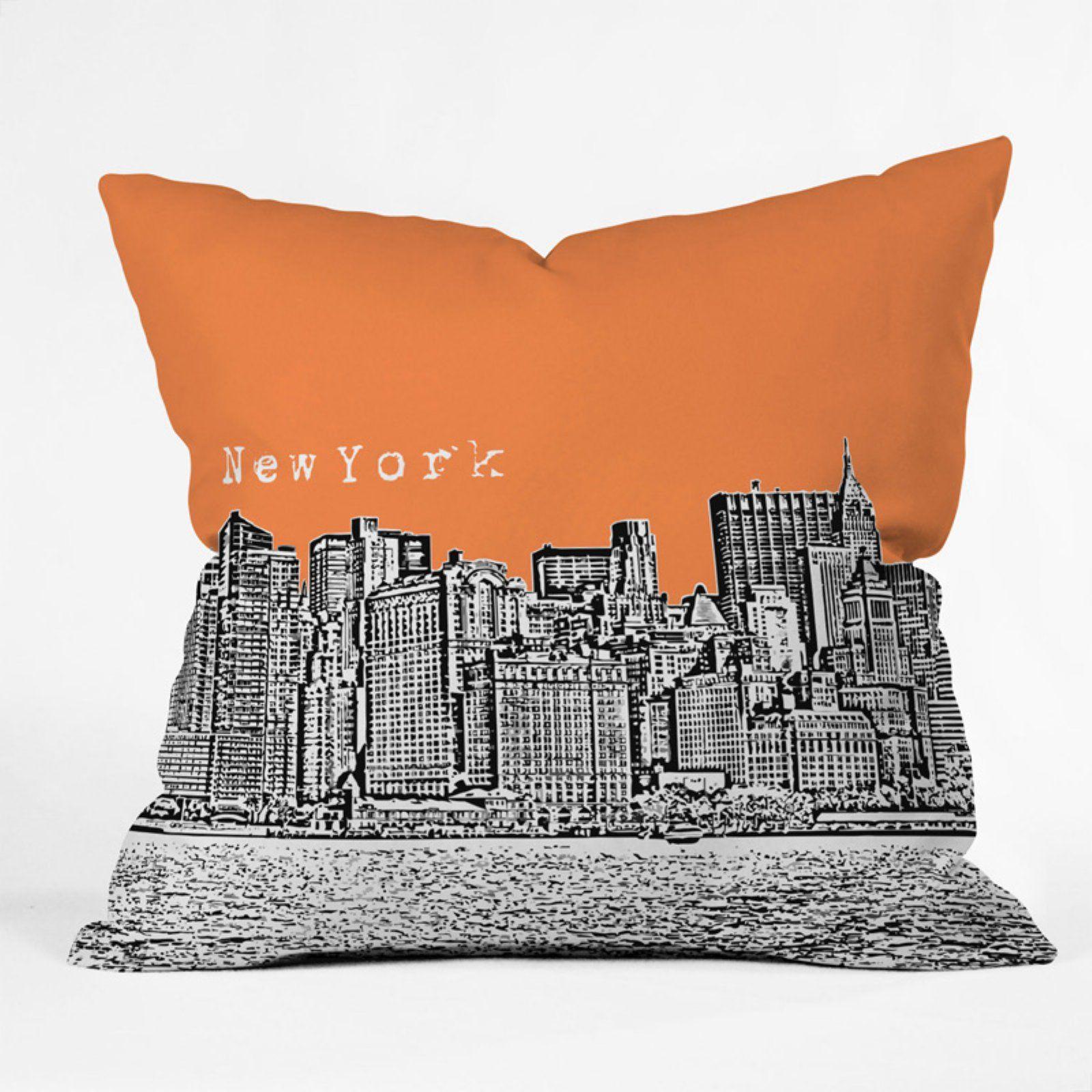 Bird Ave Cities Throw Pillow Orange Throw Pillows Throw Pillows