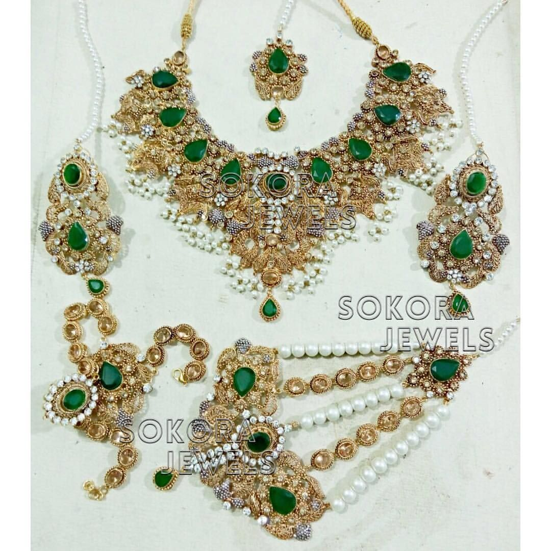 Full set tikka necklace earrings jhumar handpiece nose ring