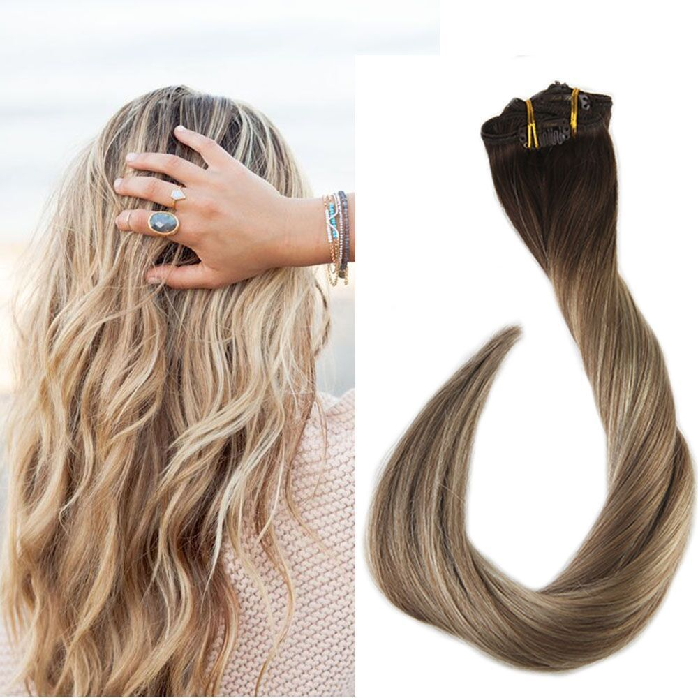 Clip In Real Human Hair Extensions Balayage Highlighted