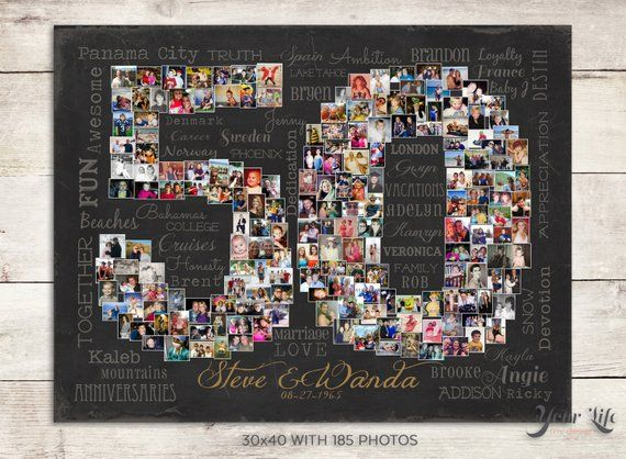 50th Wedding Anniversary Gift, 50th Birthday Decoration, Anniversary Gift for Wife, 50th Gift for women, 50th Birthday Gift, Photo Collage