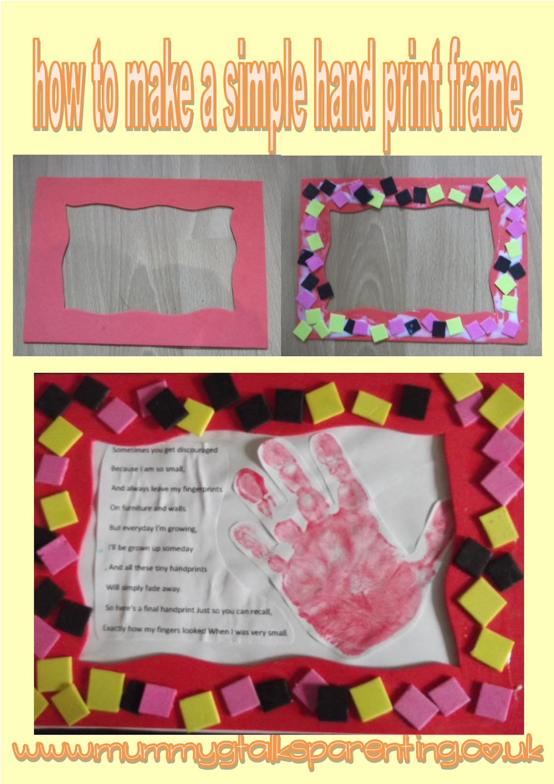 How to make a simple handprint frame mummy g talks parenting how to make a simple handprint frame mummy g talks parenting jeuxipadfo Image collections