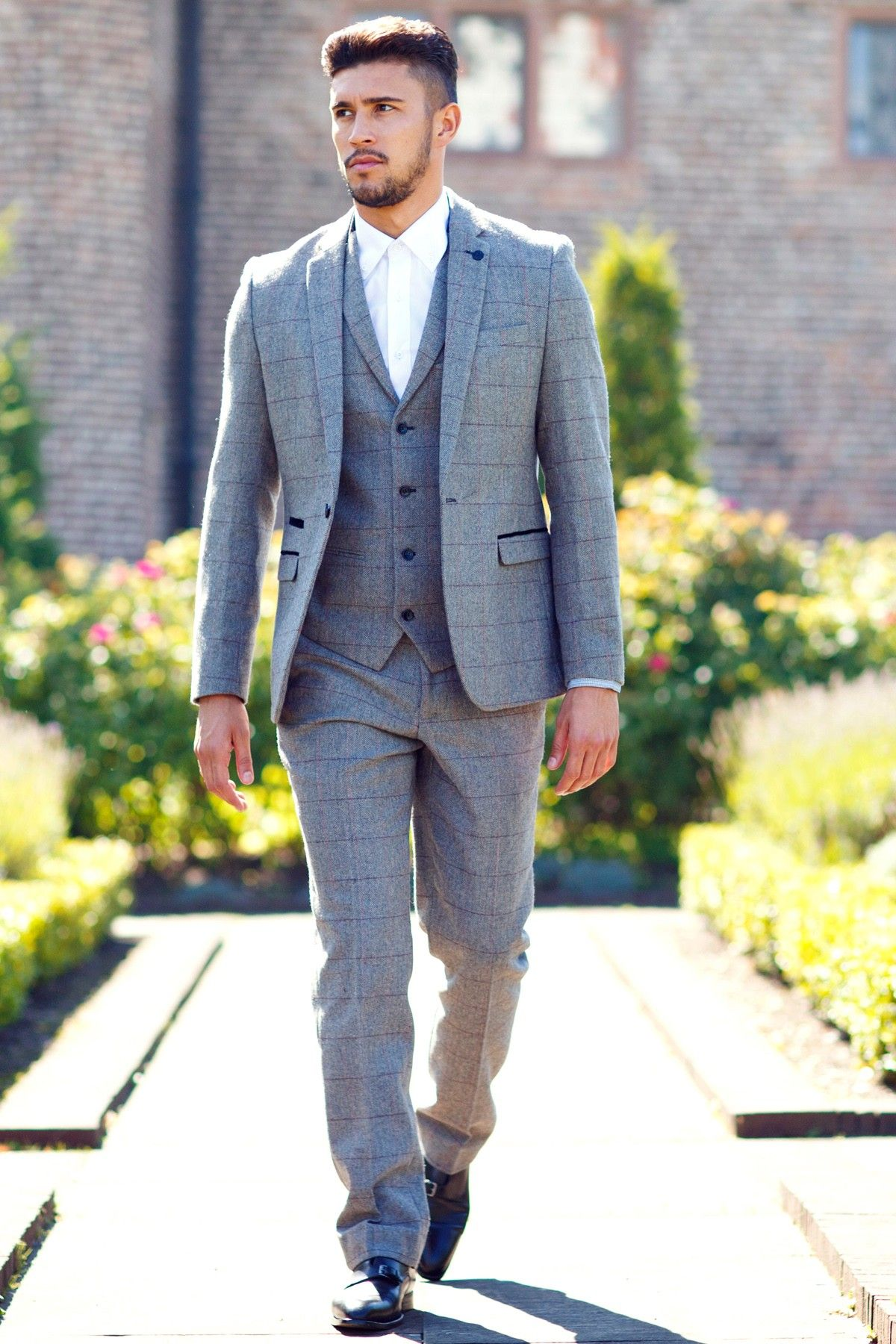 Suave Checked Three Piece Suits