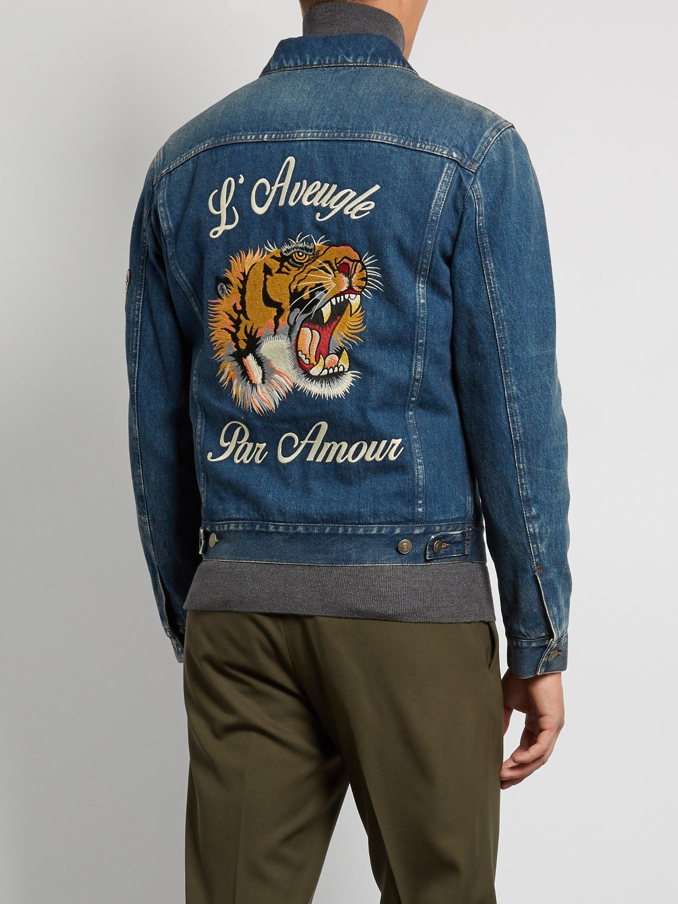 Gucci tiger embroidered denim jacket vetements