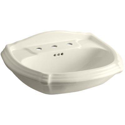 Kohler Portrait Pedestal Bathroom Sink Basin Finish: Almond, Faucet Hole Style: 8'' Widespread