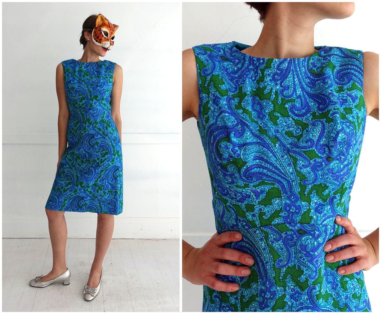Vintage 60 S 70 S Blue And Green Paisley Printed Etsy Sleeveless Shift Dress Shift Dress 60s Dress [ 1236 x 1500 Pixel ]